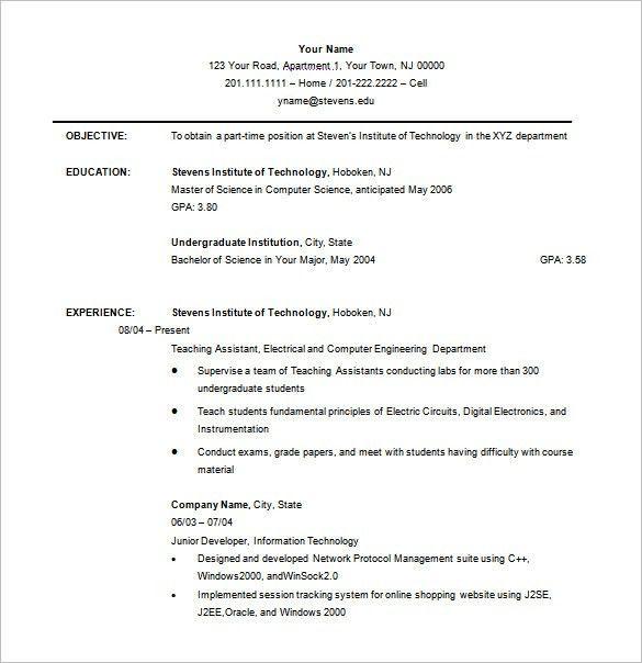 undergraduate sample resumes