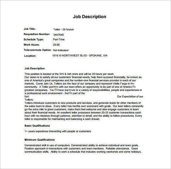 Bank Teller Job Description 9 Bank Teller Job Description - bank teller duties