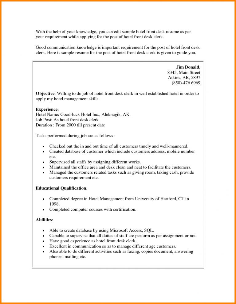 sample hotel clerk resume resume examples hotel jobs resume