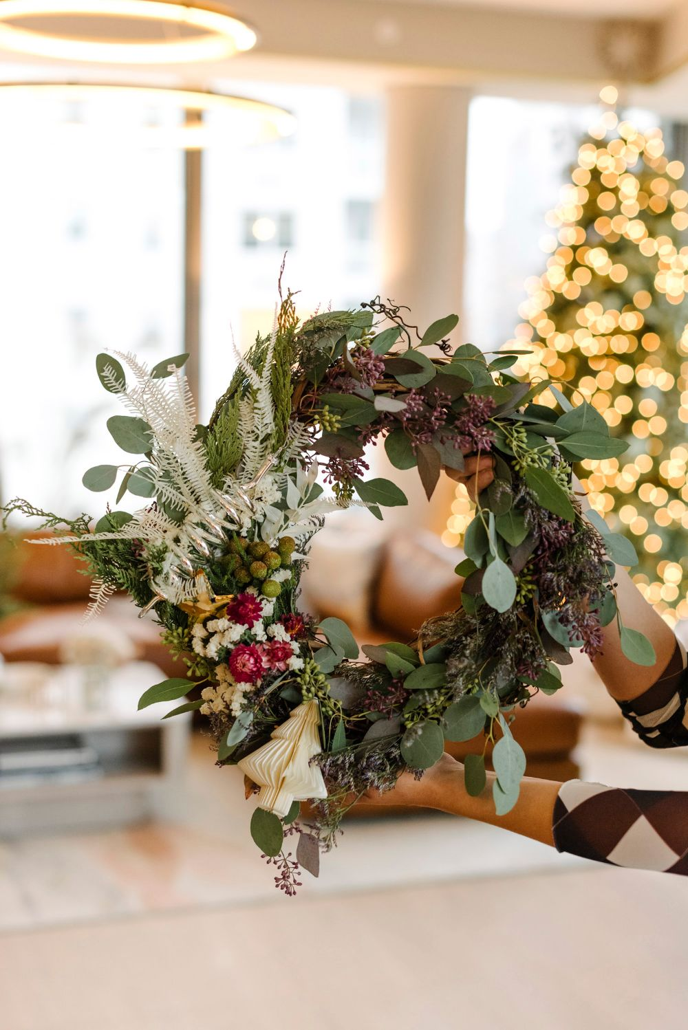 How to Make a Chic DIY Holiday Wreath with Popup Florist - Front + Main