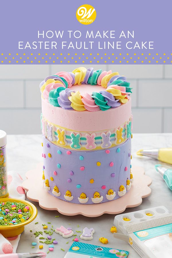 Forget decorating Easter eggs – put those cake decorating tools to work with this Easter Fault Line cake! Featuring bunnies, chicks, eggs and a rainbow of pastel swirls, this Easter Fault Line Cake is certainly a showstopper. Serve it after Easter brunch or add a few candles to the top baby's first birthday. #wiltoncakes #cakes #cakedecorating #cakeideas #trendy #pastel #eastercake #faultline #icingdecorations #sprinkles #royalicing #buttercream #buttercreamcake #easter #baking #homemade #spring