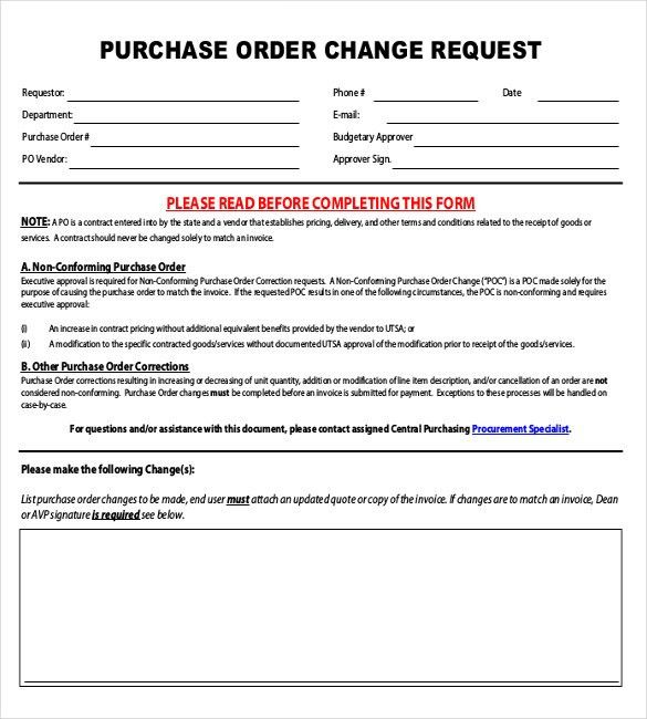 free change order template excel