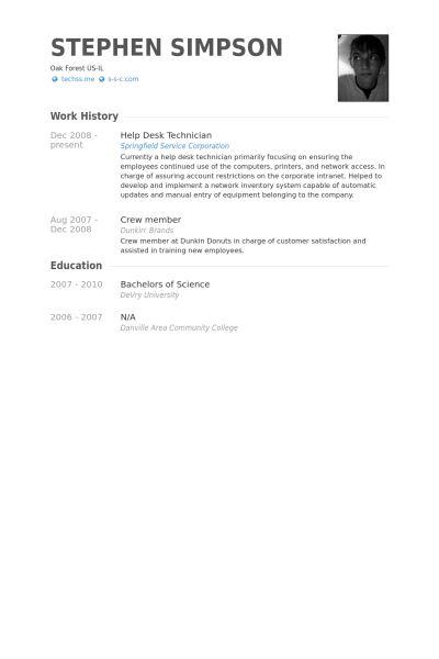 Network Technician Resume Samples Technician Resume Example - help desk technician resume