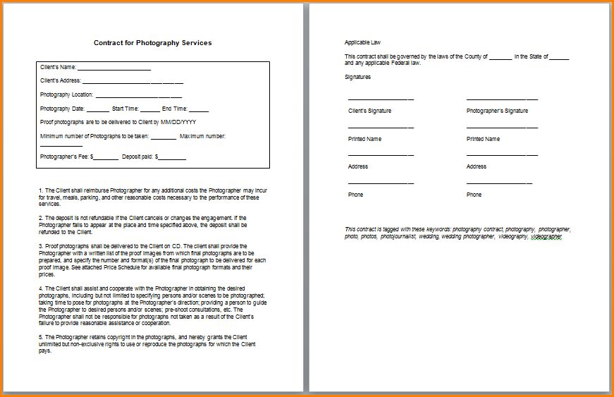 Photography Contract Template 25 Best Photography Contract Ideas - photography services contract