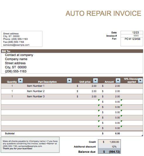 Roof Repair Invoice Sample 25 Free Service Invoice Templates - free auto repair invoice template