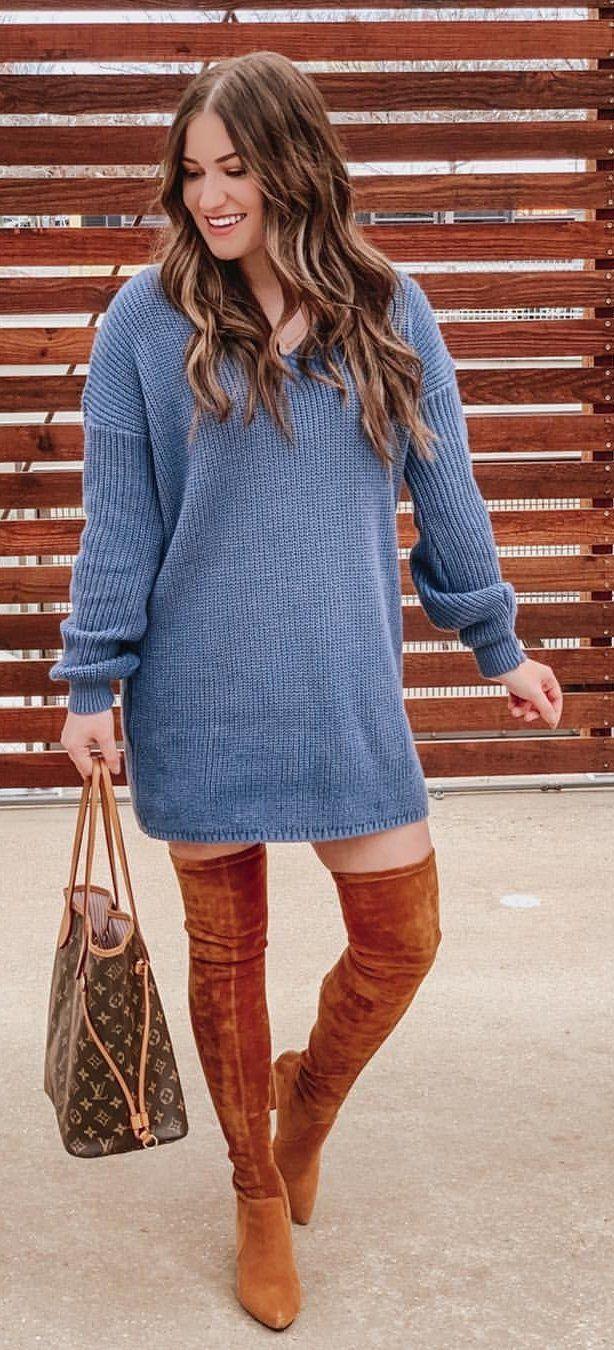 blue long-sleeved minidress