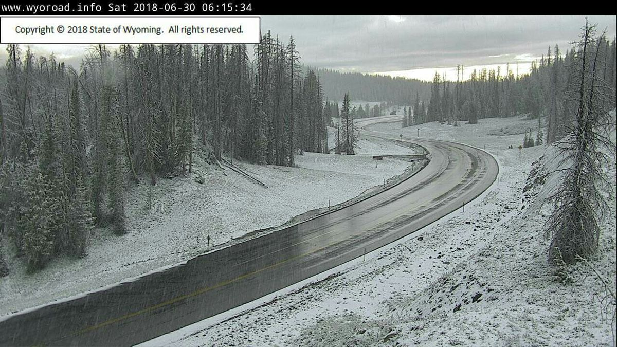Snowing on Togwotee Pass in Wyoming on June 30, 2018