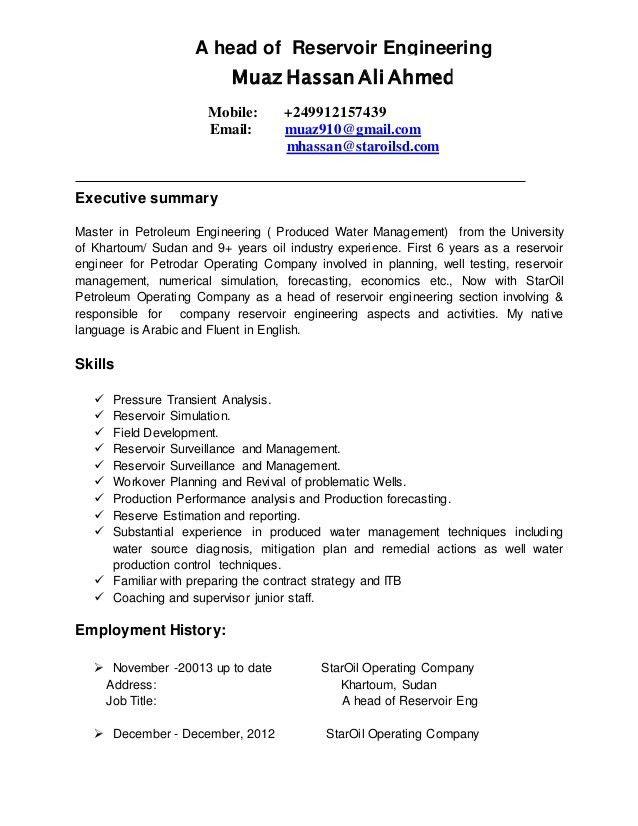 Free petroleum engineer resume example - petroleum engineer job description