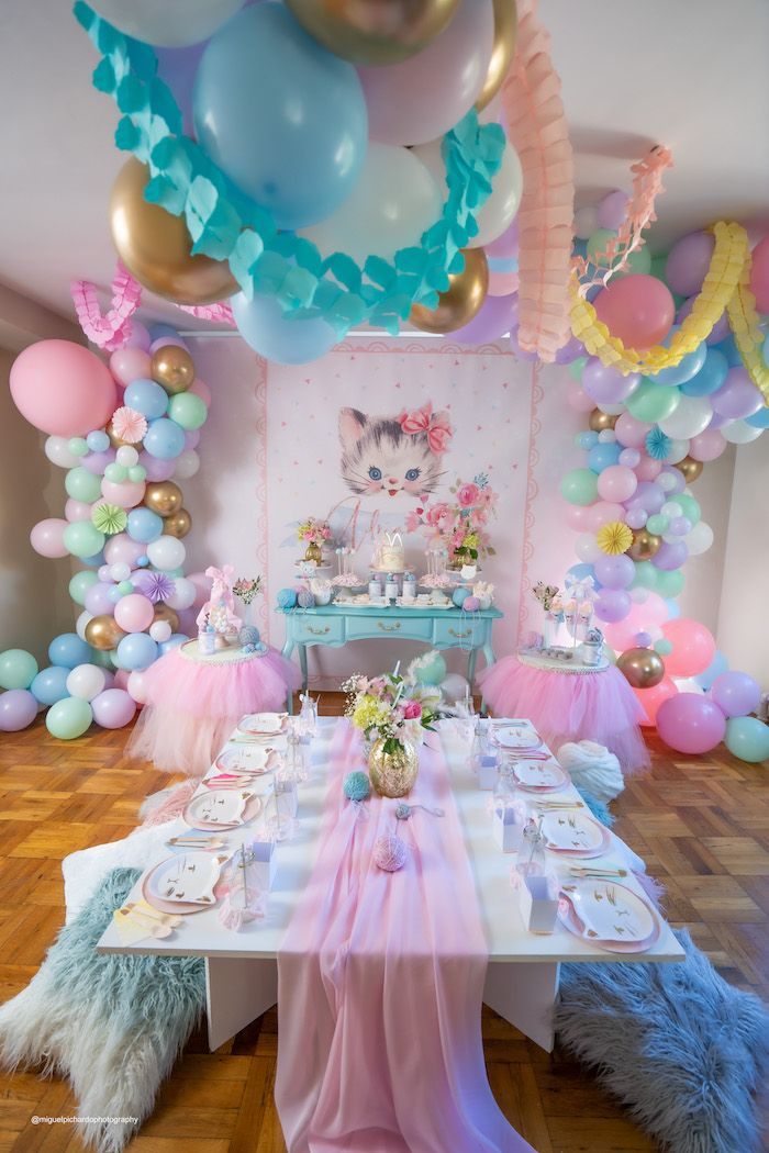 Vintage Pastel Kitten Birthday Party | Kara's Party Ideas