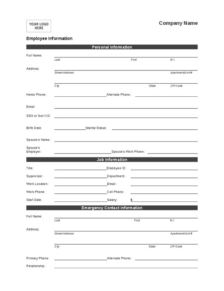 Template For Personal Information 4 Employee Personal Information - information sheet template word