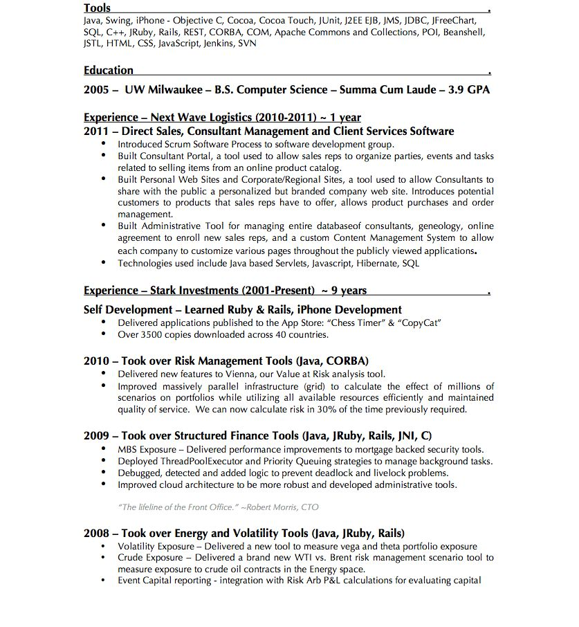 junior trader resume