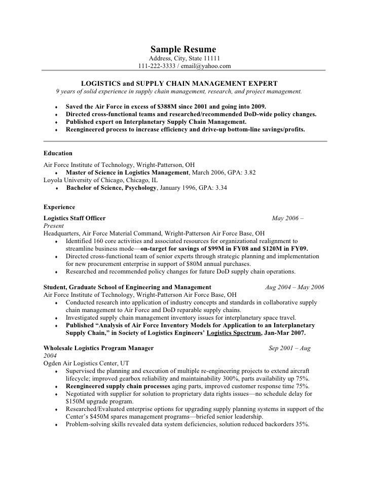 Air Force Resume Example And Aviation Manager