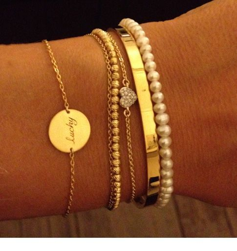 Glam gold and pearl bracelets