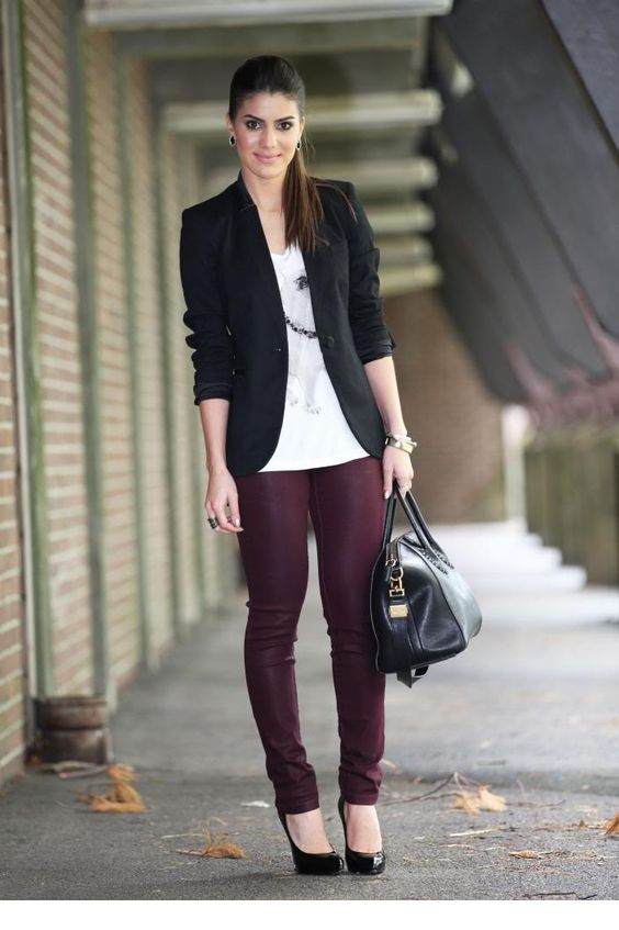 White t-shirt, black blazer and burgundy pants