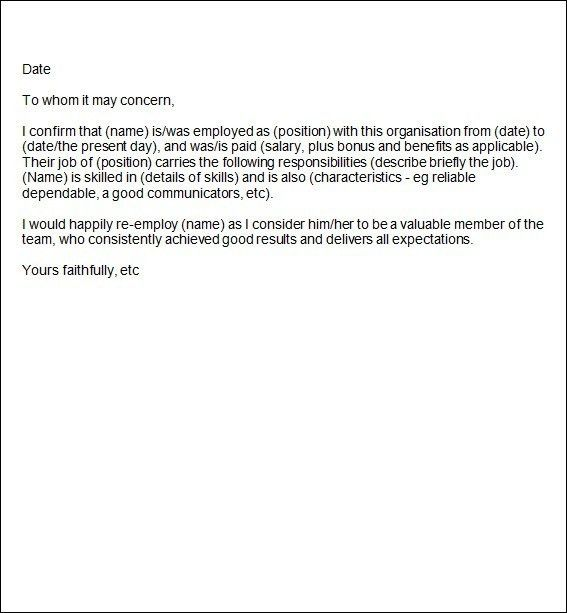 Employment Reference Letter Samples Free Sample Recommendation - employment reference letter sample