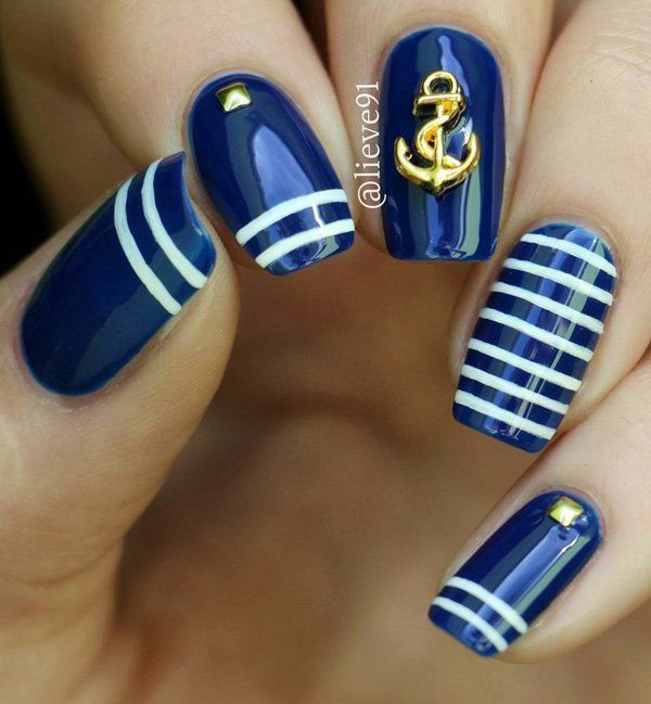 What ever season is, we somehow can't avoid sailor style. It's modern for a long time. This is one nice idea for your manicure. Let anchor bring happiness in every your day.
