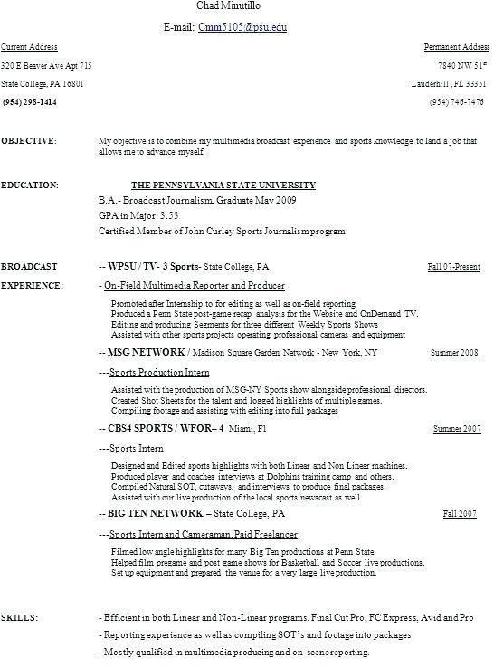 Cinematographer Sample Resume Director Of Photography Resume