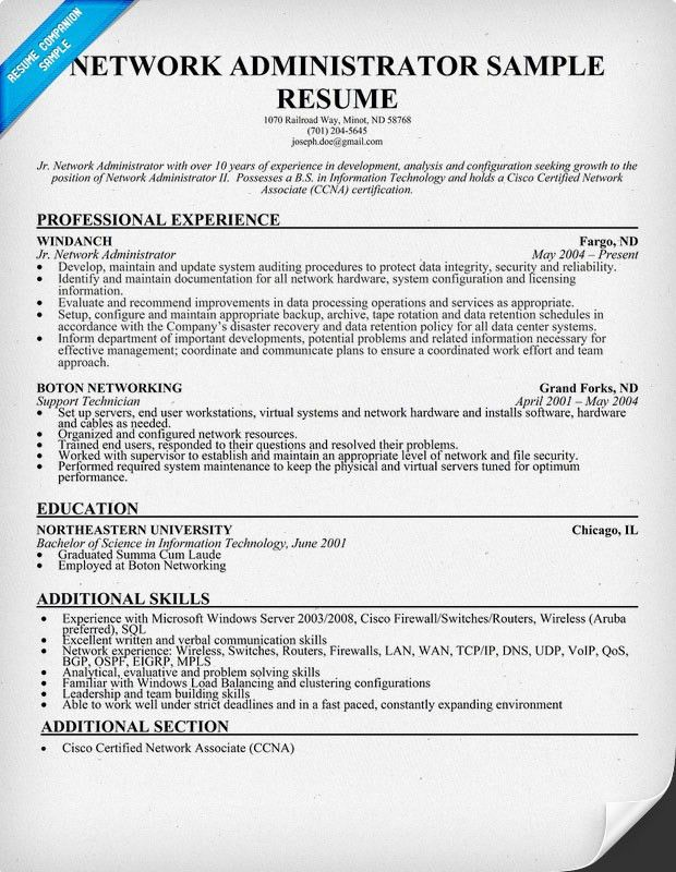 Network Administrator Resume Samples Network Administrator Resume - linux administrator resume