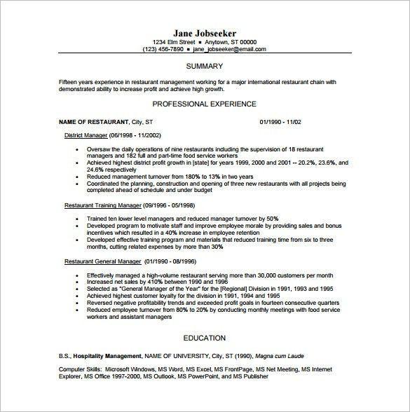 Restaurant Manager Resume Template Unforgettable Restaurant - restaurant resume template