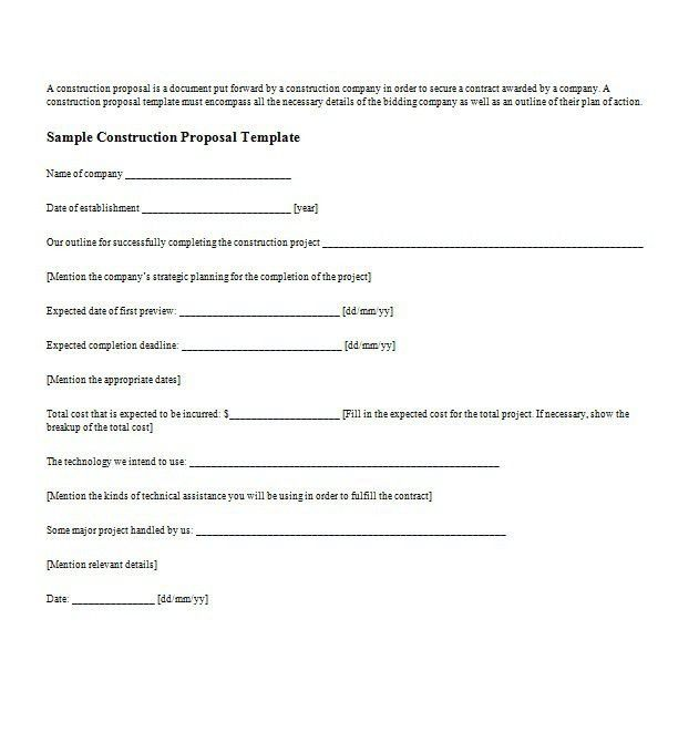 Bid Proposal Form 11 Bid Proposal Form Proposal Template 2017 - catering quote template