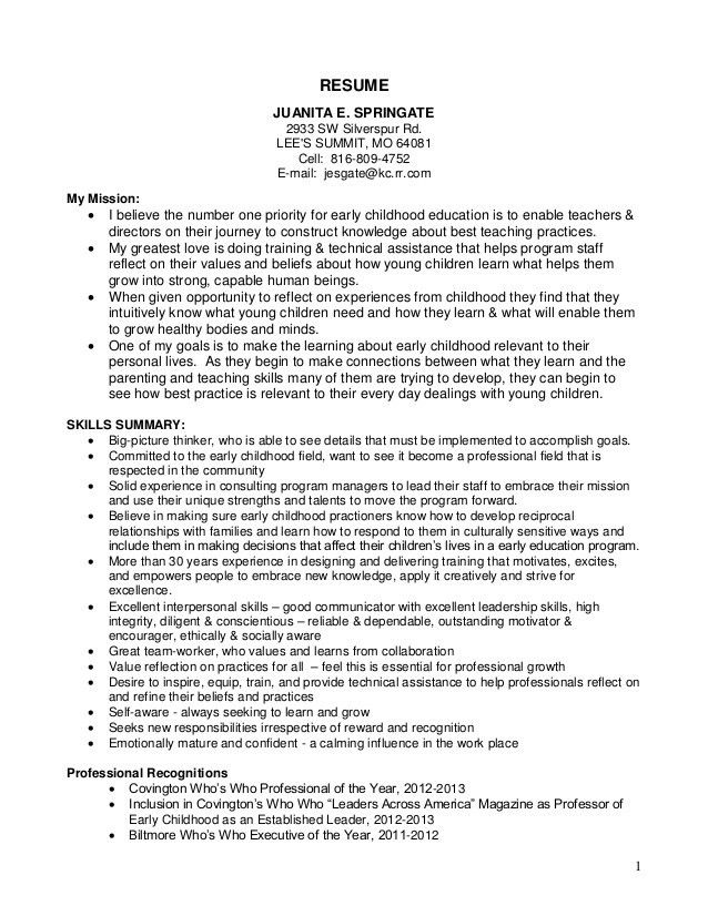 daycare resume objective resume sample resume objective for child - early childhood resume