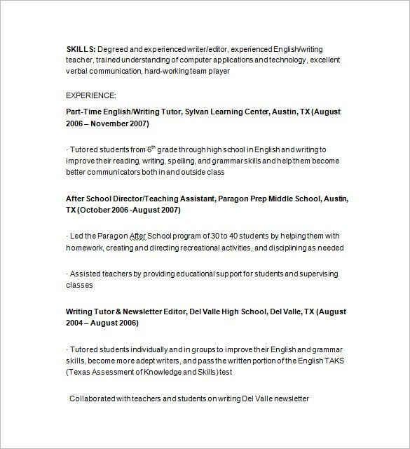Tutor Resume Examples Examples of Resumes
