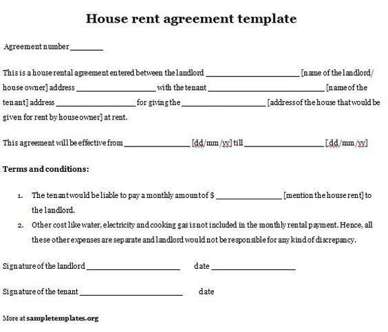 Rental House Lease Agreement Template Printable Sample Rent Lease - standard lease agreement template