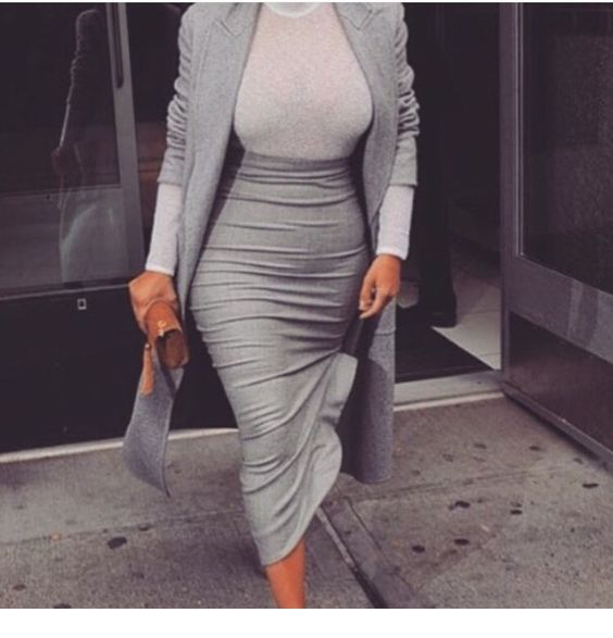 Chic all grey office outfit