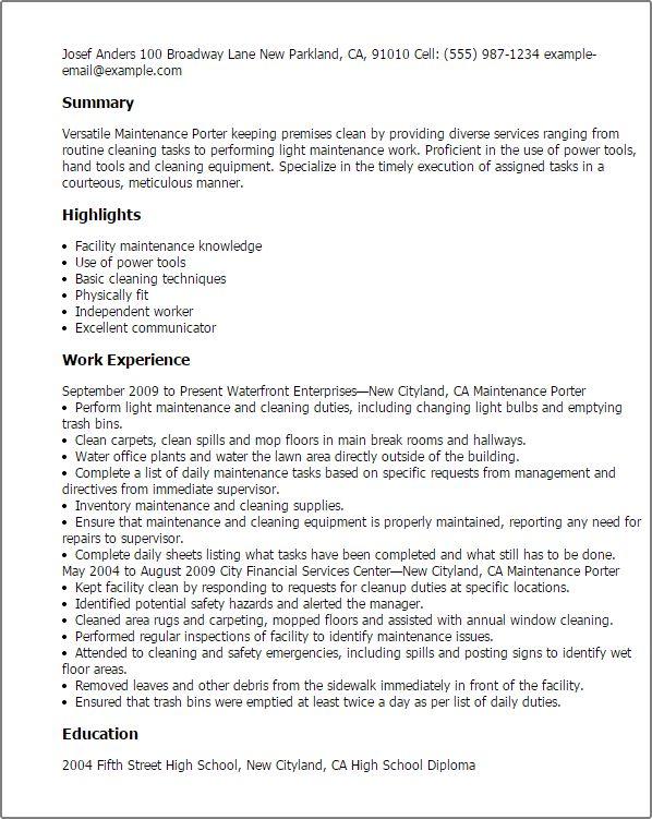 Porter Resume Sample Professional Maintenance Porter Templates To - maintenance resume template