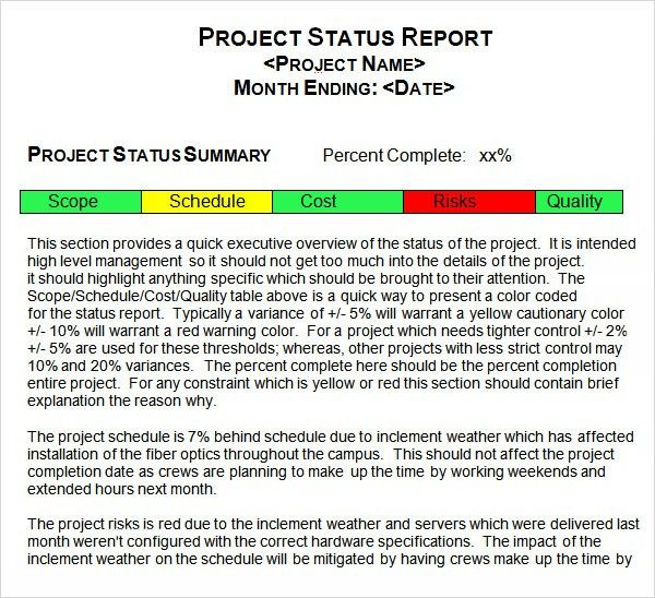 Project Status Report Template   8+ Download Free Documents In PDF .  Monthly Summary Report Template