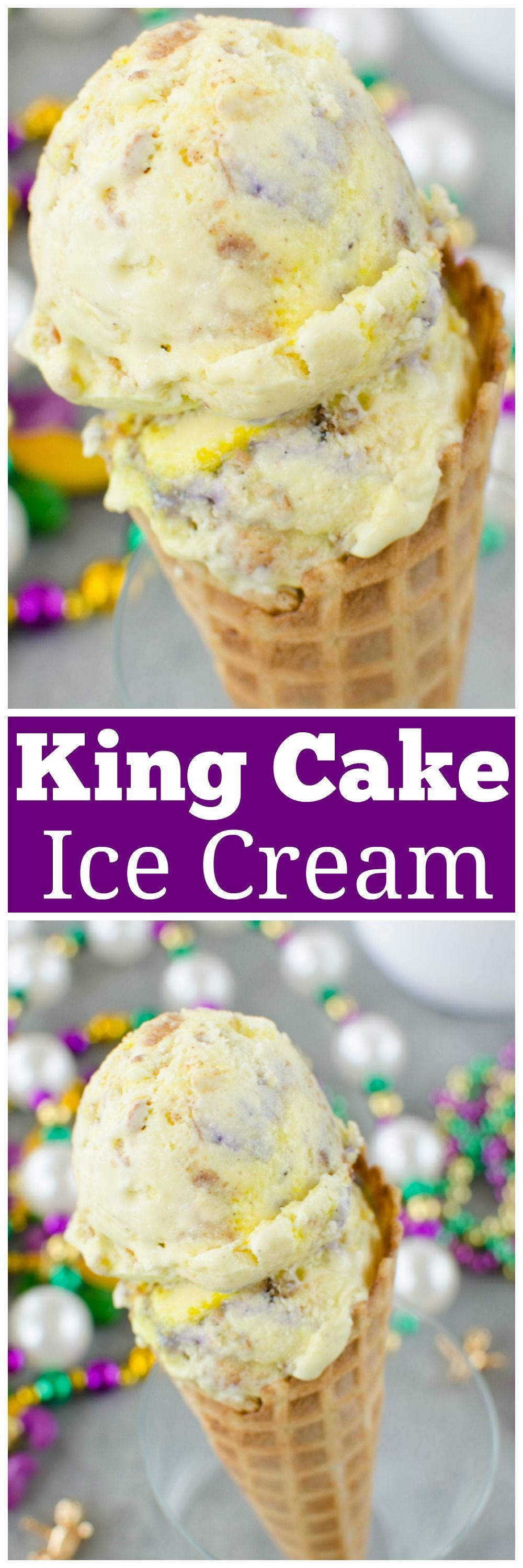 King Cake Ice Cream - it's Mardi Gras,  y'all! Cream cheese ice cream with king cake pieces and sprinkles mixed in.