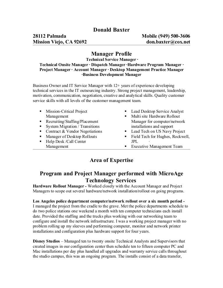 Infrastructure Project Manager Jobs Resume Example V