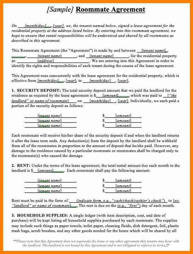 Roommate Agreement Template Roommate Contract Room Rental - property lease agreement sample