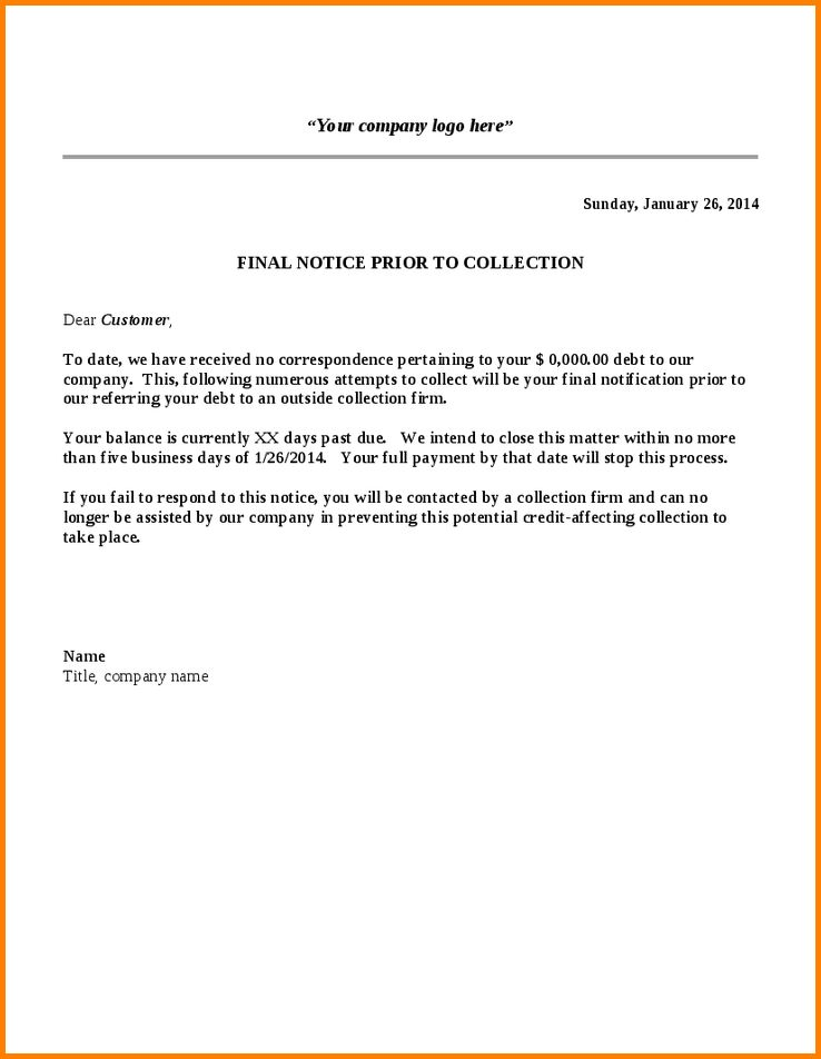 Collection Notice Sample Collection Letter Template Final Notice - sample final notice letter