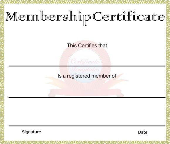 Membership Certificate Template Free