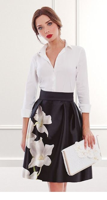 White shirt and white flowers on my skirt