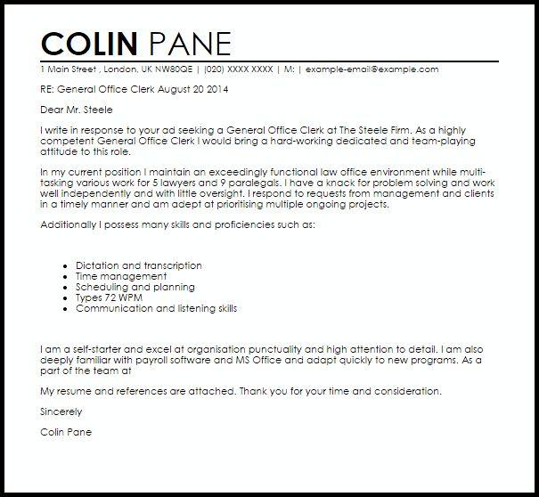 law clerk cover letter sample