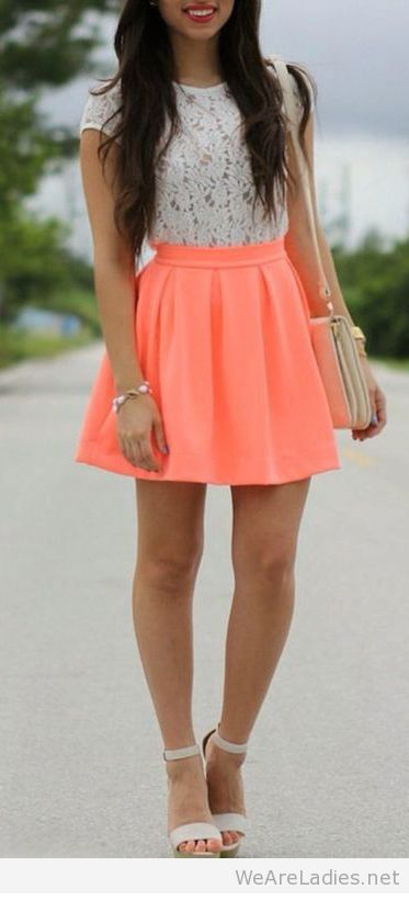 Cute white lace top and orange skirt
