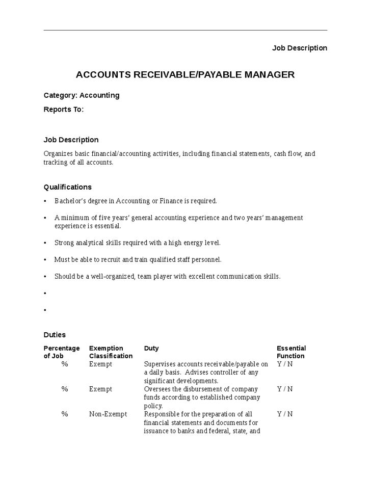 Accounts Payable Manager Job Description Sample Accounts Payable Accounts  Payable Duties .  Accounts Payable Duties