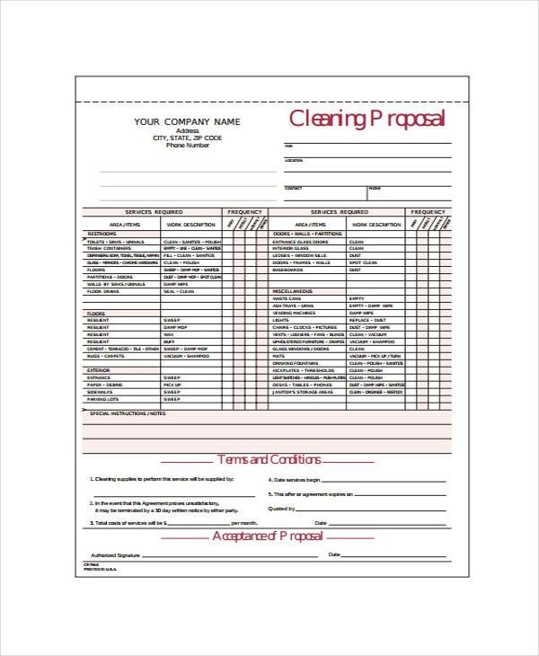 Cleaning Estimate Template Cleaning Business Estimate Form, Free - estimate proposal template