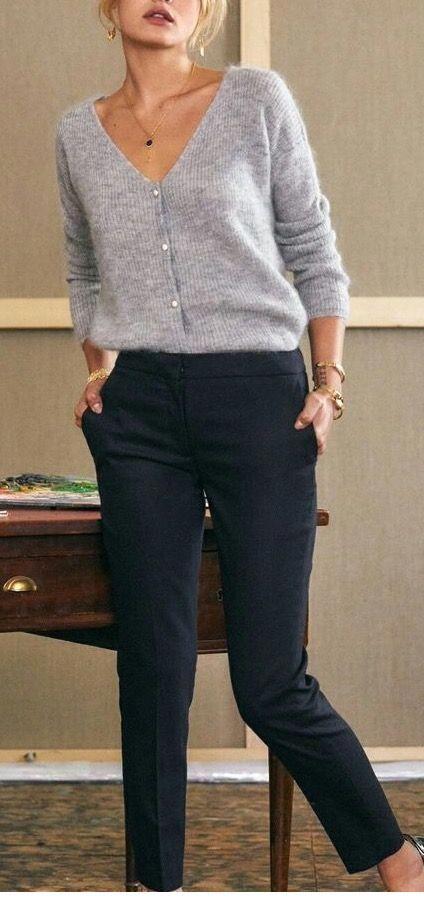 Grey cardigan and black pants