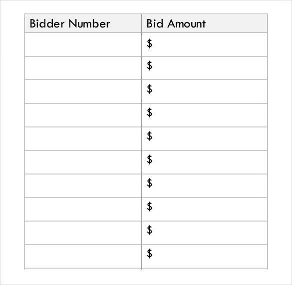 Free Bid Sheet Template Silent Auction Bid Sheet Template 17 - sample silent auction bid sheet