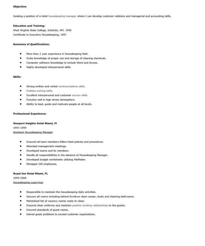 Housekeeping Resume Objective Resume Cleaning Manager Resume - resume for housekeeping