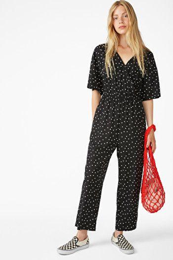 Short-sleeved wrap jumpsuit - Cat print - Jumpsuits - Monki GB