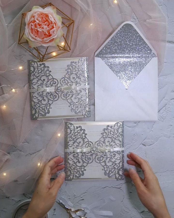 Glitter Laser Cut Wedding Invitations