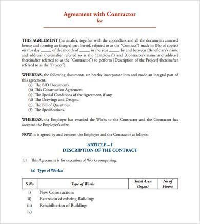 Construction Contract Format Construction Contract Template - contract agreement format