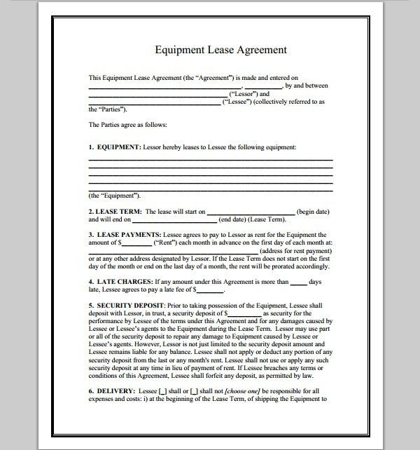 Product Rental Agreement Template 12 Equipment Rental Agreement - sample equipment rental agreement