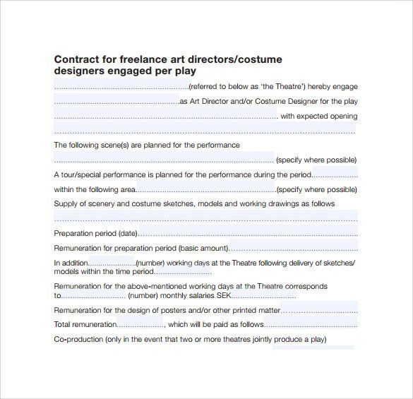 Theatre Contract Template Sample Speaking Contract, Sample - sample freelance contract template