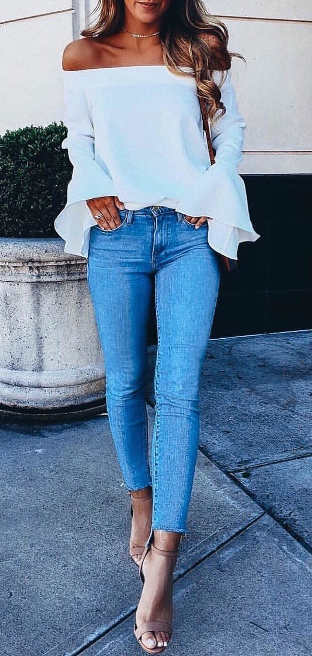 blue denim jeans #winter #outfits