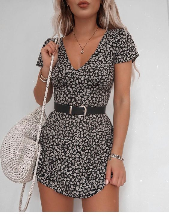 Cool boho printed dress with a belt